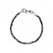John Varvatos Mercer Silver distressed ball and obsidian bead bracelet - JV-BSS8-SS-OB910.04