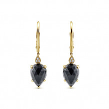 14k Yellow Gold Gabriel & Co. Diamond Black Onyx Drop Earrings