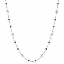 Gabriel & Co. 14K White Gold Endless Diamonds Blue Sapphire Necklace NK1038W45SA