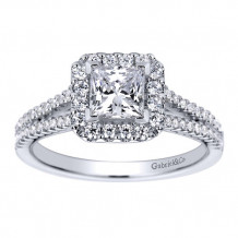 Gabriel & Co 14k White Gold Princess Cut Halo Engagement Ring - ER9402W44JJ