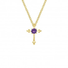 Gabriel & Co. 14K Yellow Gold Faith Amethyst Necklace NK1694Y4JAM