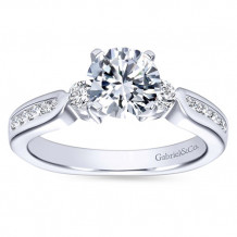 Gabriel & Co 14k White Gold Round 3 Stones Engagement Ring - ER3993W44JJ