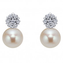 14k White Gold Gabriel & Co. Pearl Diamond Drop Earrings