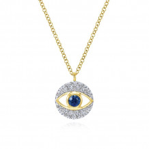 Gabriel 14K Yellow Gold Evil eye Blue Sapphire Necklace NK5203Y45SB