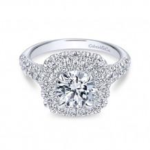 Gabriel & Co.14k White Gold Round Double Halo Engagement Ring - ER10754W44JJ
