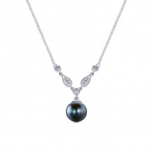 Gabriel & Co. 14K White Gold Grace Black Pearl Necklace NK1420W45BP
