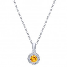 Gabriel & Co. Silver Secret Garden Citrine Necklace NK1690SVJCT